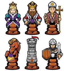 Chess pieces mascot set vector
