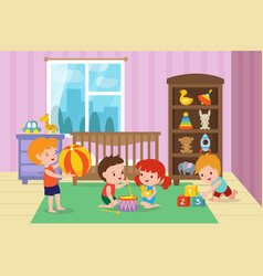 Children playing with toys in playroom of vector