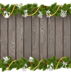 Christmas old board with paper decoration vector