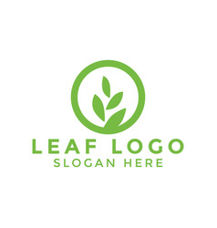 circle leaf logo icon design template vector image