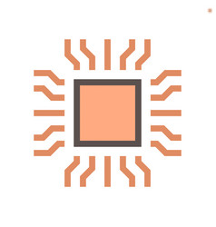Computer chip processor and technology icon set vector