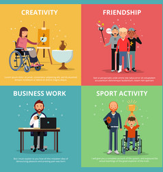Concept pictures of disabled people rehabilitation vector