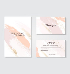 coral gold greeting brush strokes wedding vector image