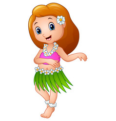 Cute cartoon girl dancing hula hawaiian vector
