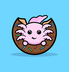Cute oxolotl eating donut cartoon character vector