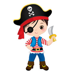 Cute pirate wearing eye patch and hat with skull vector