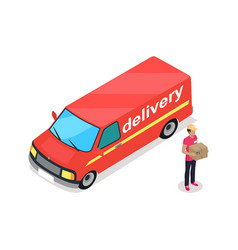 Delivery car and person 3d vector