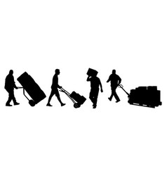 Delivery man silhouettes carrying boxes vector