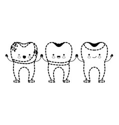 dental crown and implant and restored teeth vector image