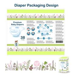 diaper packaging design elements in doodle forest vector image