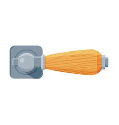 Door handle with push mechanism house interior vector