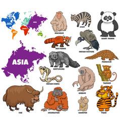 Educational cartoon asian animals set vector