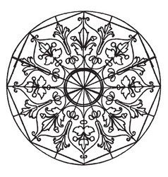 Etched ornament star-shape panel is a 16th vector