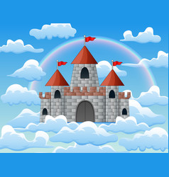 fantasy flying island with castle and rainbow in c vector image