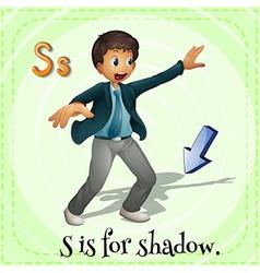 Flashcard alphabet S is for shadow vector