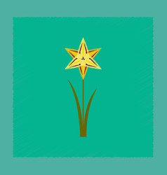 Flat shading style flower narcissus vector