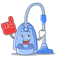 foam finger vacuum cleaner character cartoon vector image