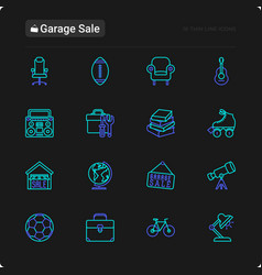 garage sale thin line icons set vector image