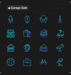 Garage sale thin line icons set vector