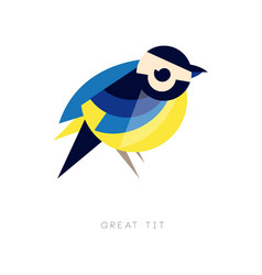 Geometric silhouette of great tit bird icon in vector