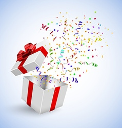 Gift Box with Confetti on a white background vector image vector image