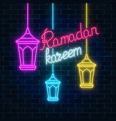 glowing neon ramadan holy month sign on dark vector image