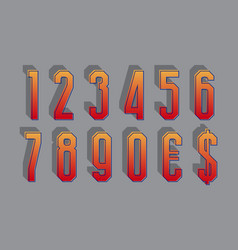 Gradient stylized numbers with currency signs in vector