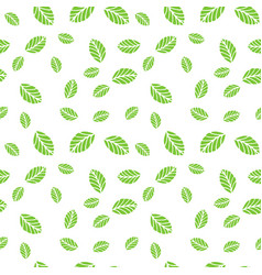 Green mint leaves seamless pattern vector