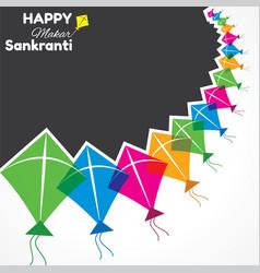 greeting for makar sankranti festival vector image