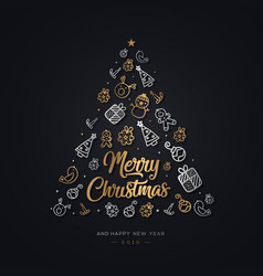 Hand drawn element christmas background vector