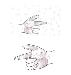 Hand gesture with rabbit painting on white backgro vector