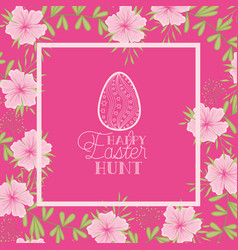 happy easter egg frame with handmade font and vector image