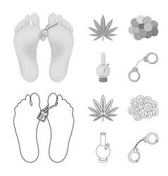 Hemp leaf ecstasy pill handcuffs bongdrug set vector