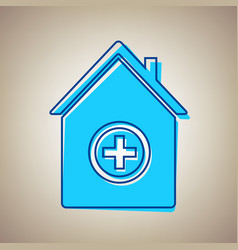 Hospital sign sky blue icon vector