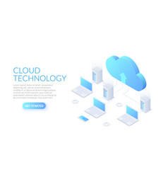 isometric cloud technology with datacenter vector image