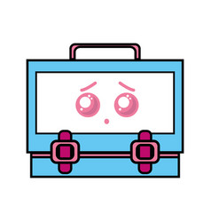 Kawaii cute sad suitcase design vector