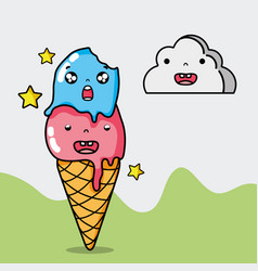 Kawaii ice cream and cloud face expression vector