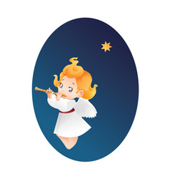 kid angel musician flutis flautist flying on a vector image
