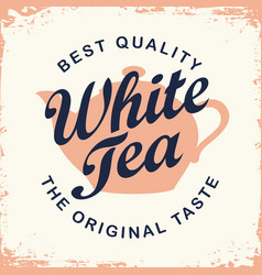 label for white tea with teapot and inscription vector image