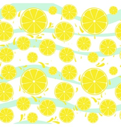 Lemons slices seamless pattern splash vector image