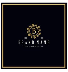 Letter b rose logo design concept ornament vector