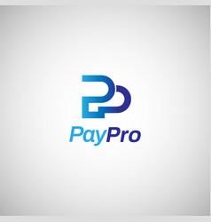 letter mark p internet payment logo sign symbol vector image