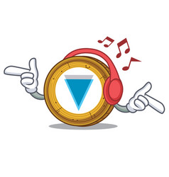 listening music verge coin mascot cartoon vector image