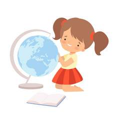 Little cute girl examining globe and learning to vector