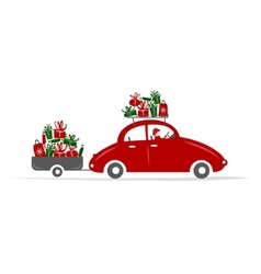 Man driving red car with gift boxes vector