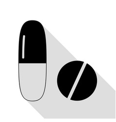 medical pills sign black icon with flat style vector image