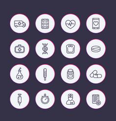 Medicine line icons set vector