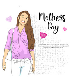 mothers day greeting card with smiling woman on vector image