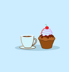 muffin cake tasty cupcake with coffee cup sweet vector image