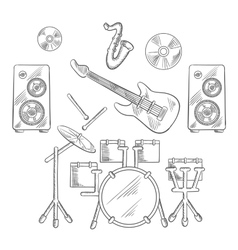 Musical band instruments sketches set vector image